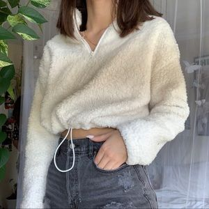 White cropped teddy sweater